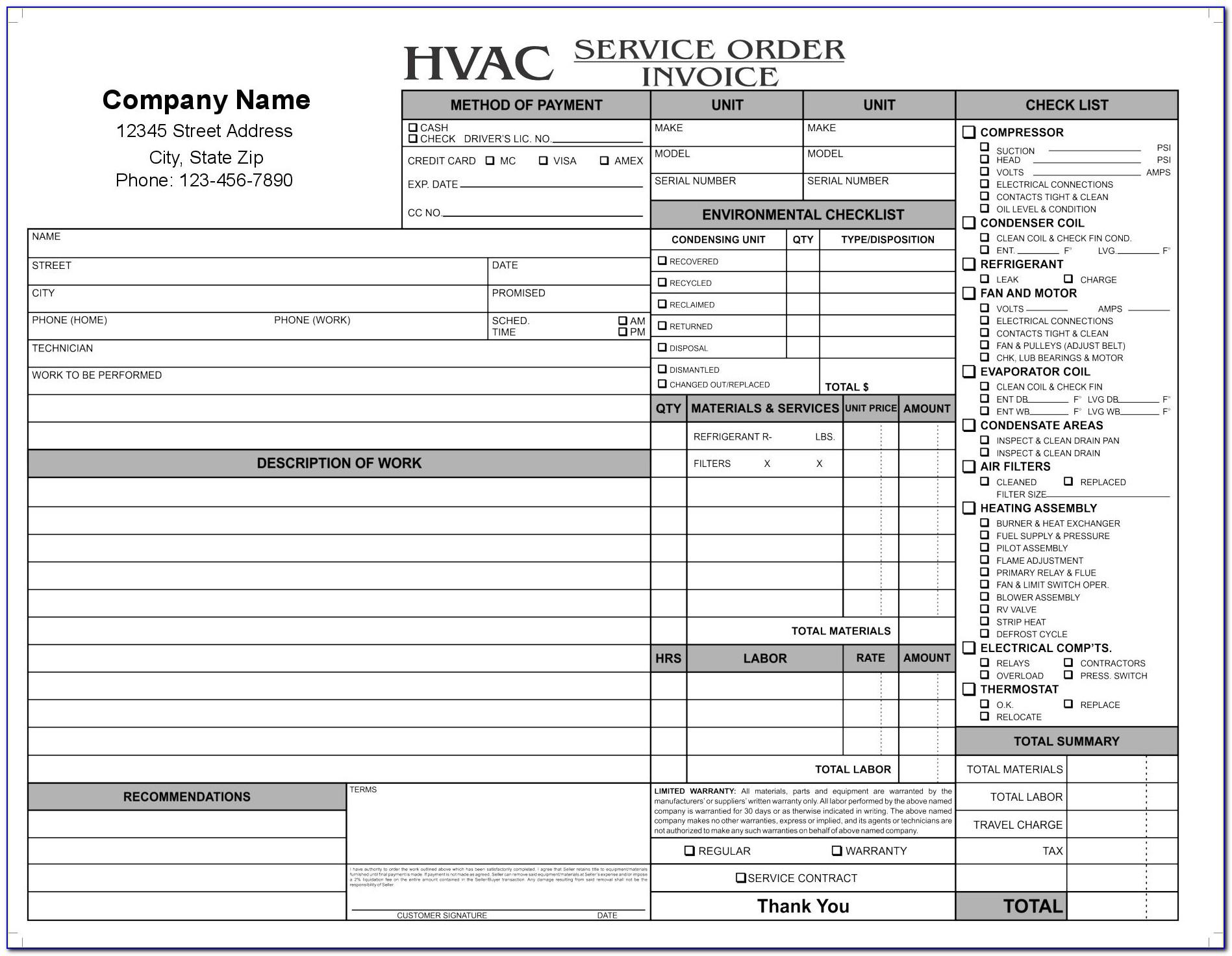 Hvac Forms Templates