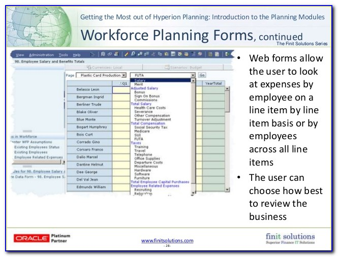 Hyperion Planning Web Form Design Considerations
