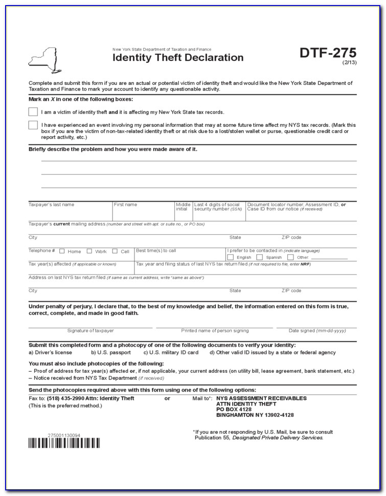 Id Theft Affidavit Form