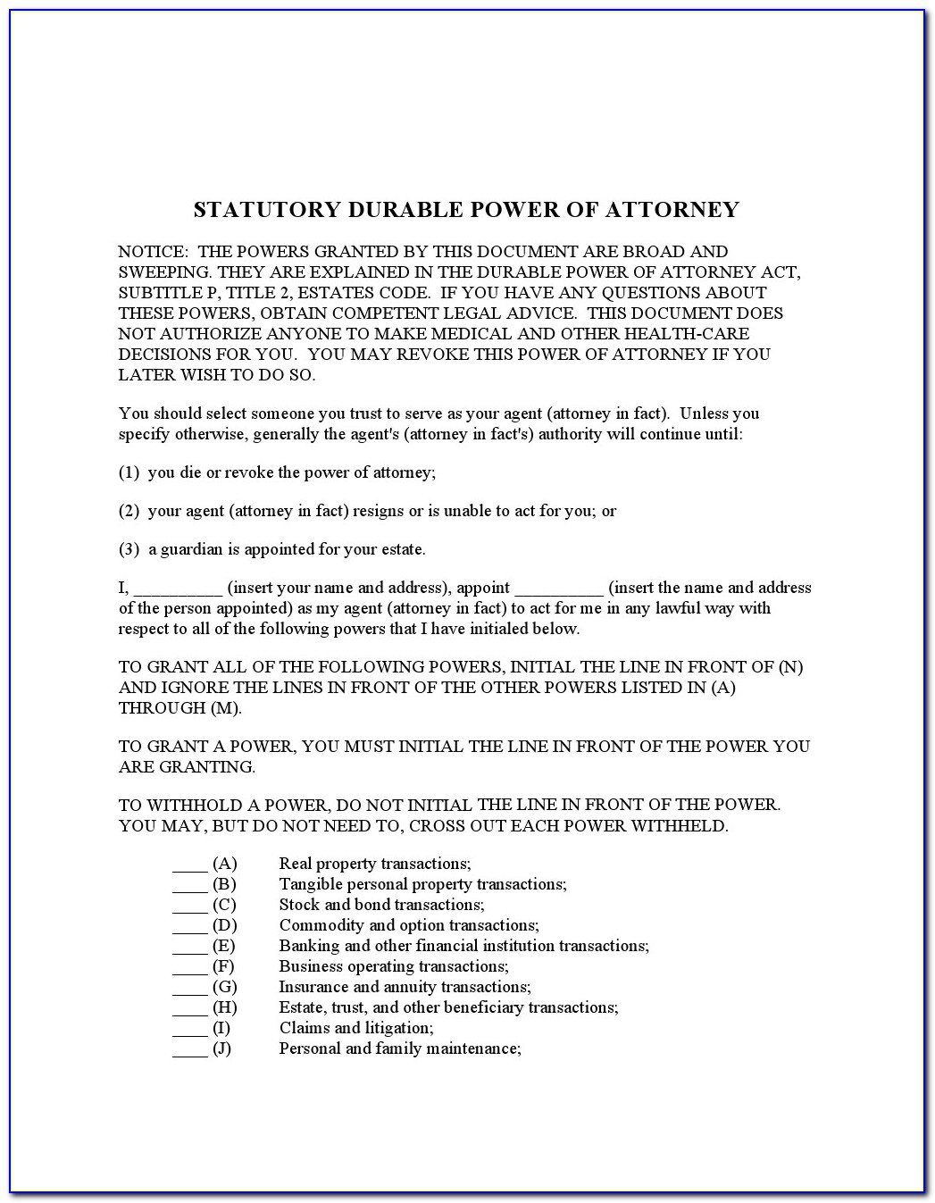 Idaho Statutory Durable Power Of Attorney Form