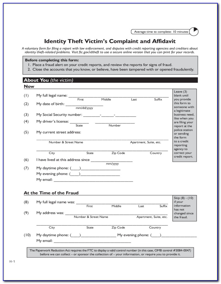 Identity Theft Affidavit Tax Form