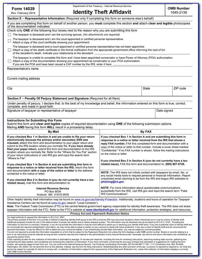 Identity Theft Form 14039