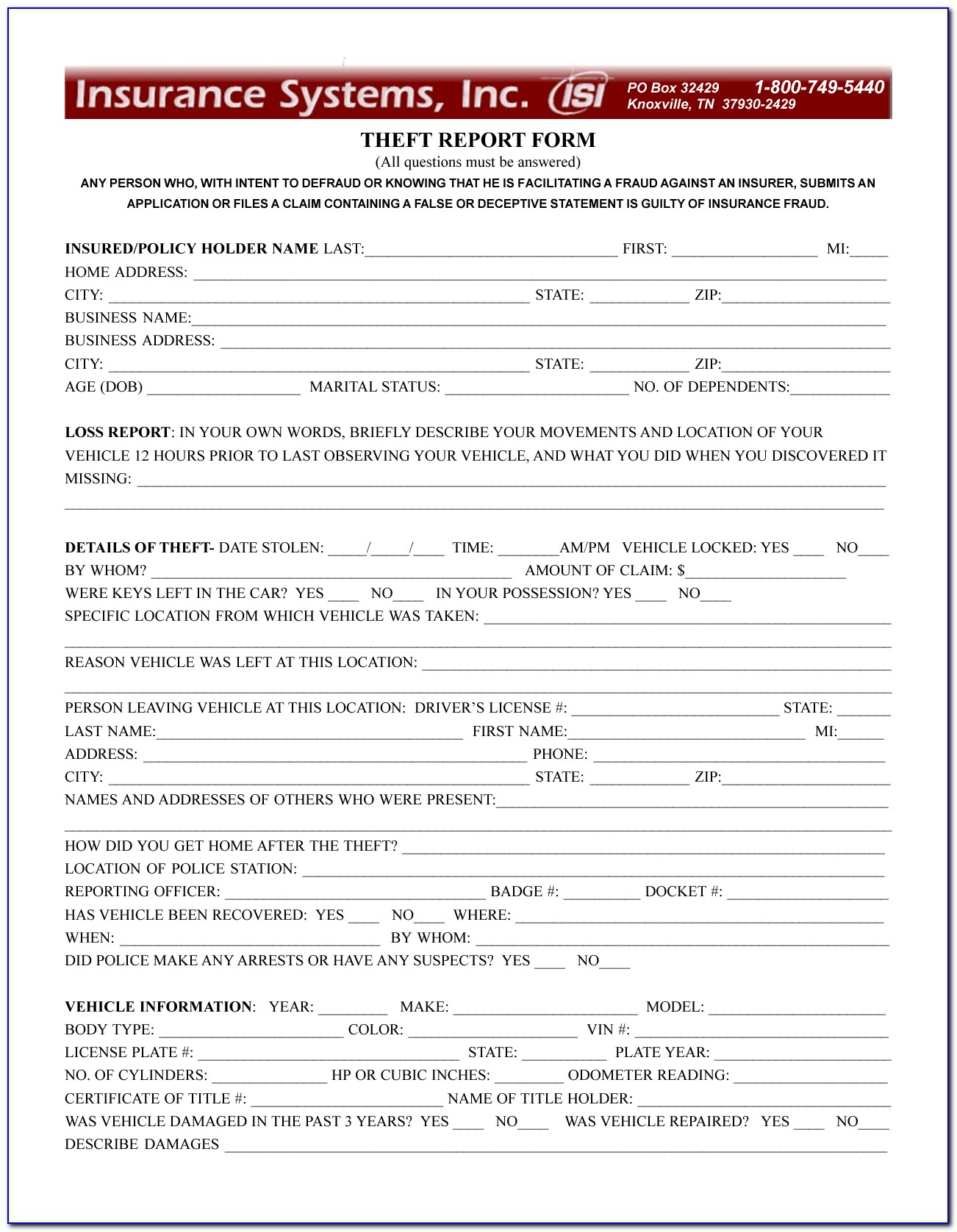 Identity Theft Police Report Form