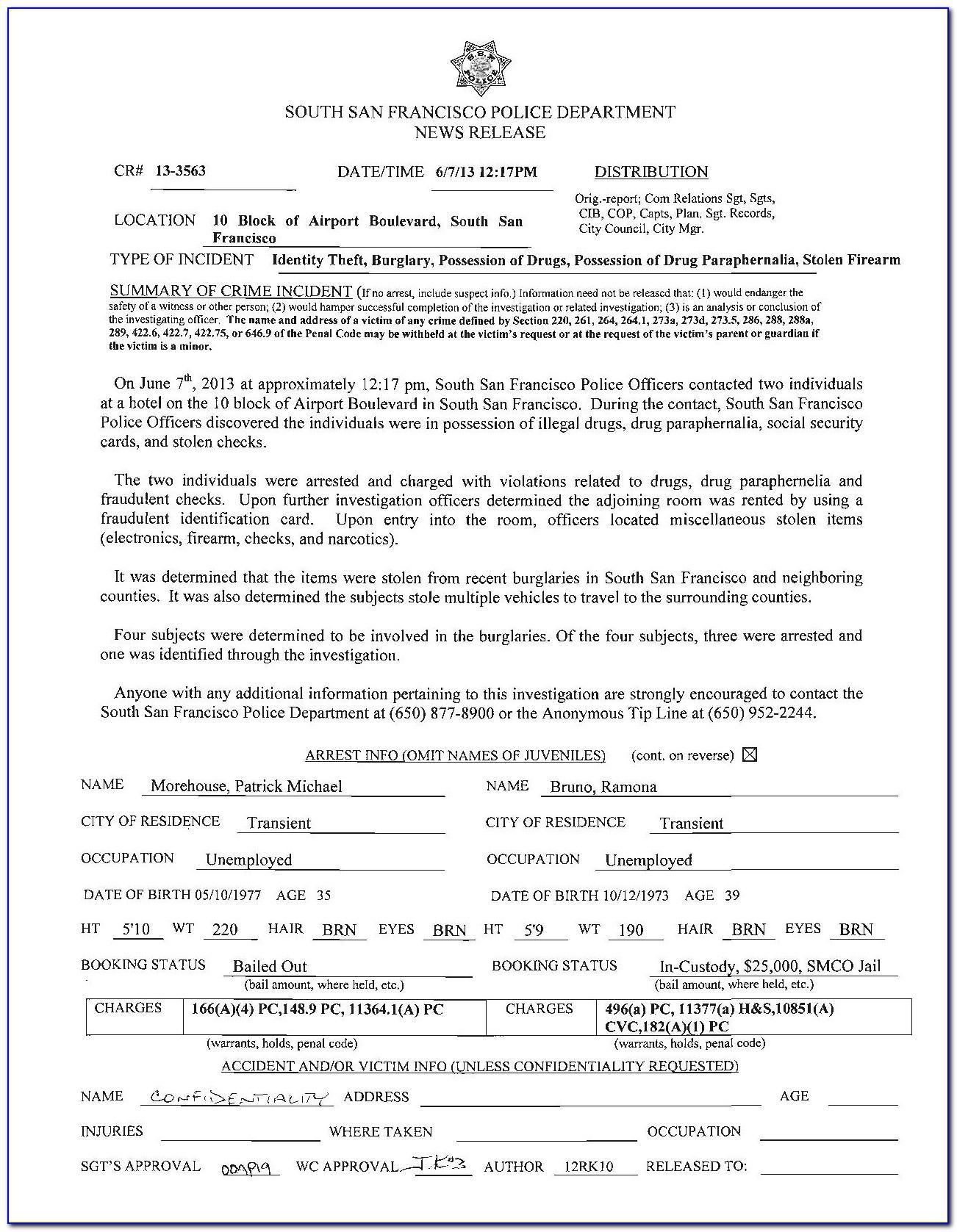Identity Theft Report Form
