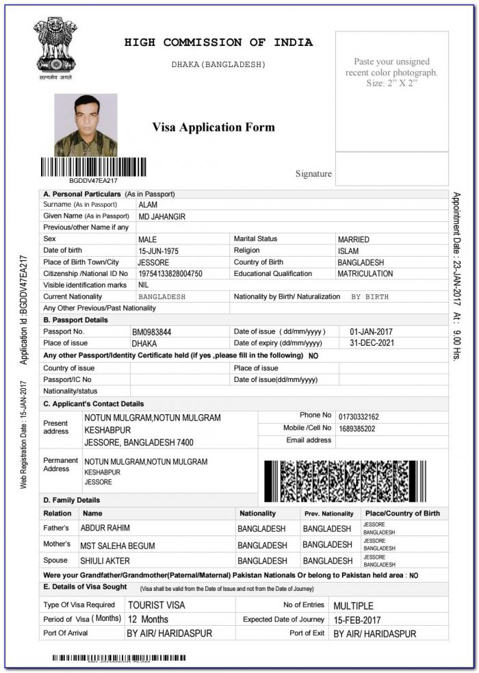 Indian Visa Application Form For Bangladesh Pdf Download