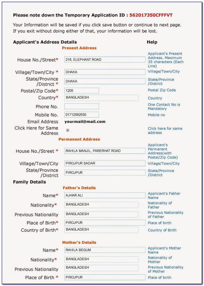 Indian Visa Application Form For Bd