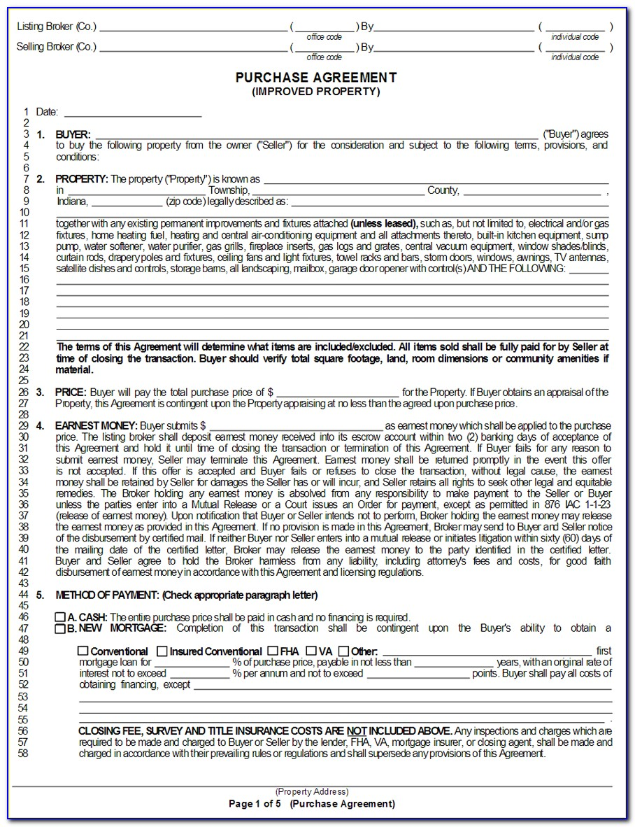 Indiana Real Estate Purchase Agreement Form Free