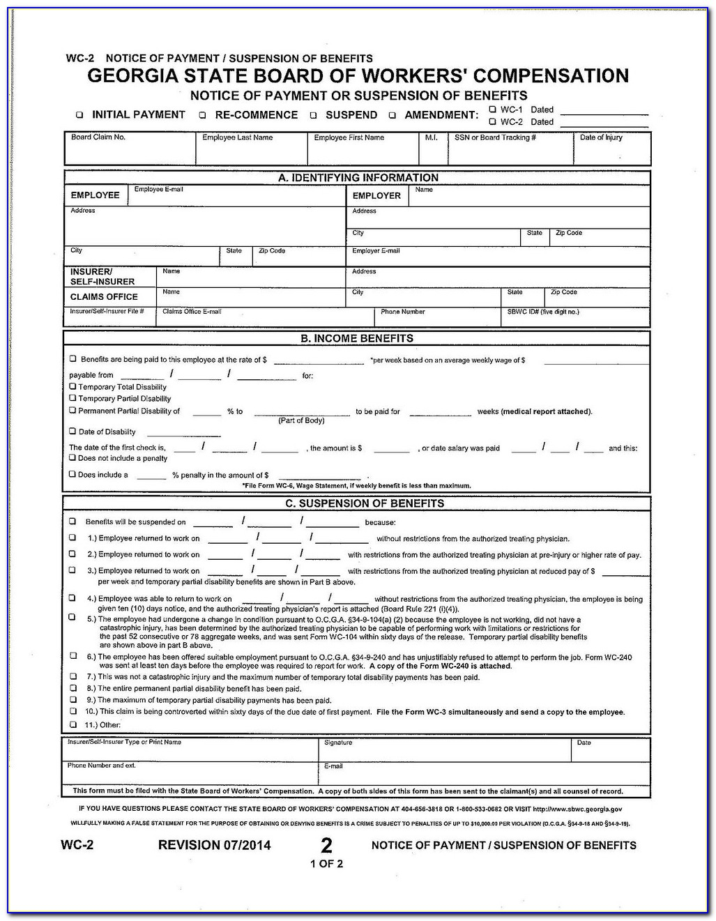 Indiana Workers Compensation Inclusion Form