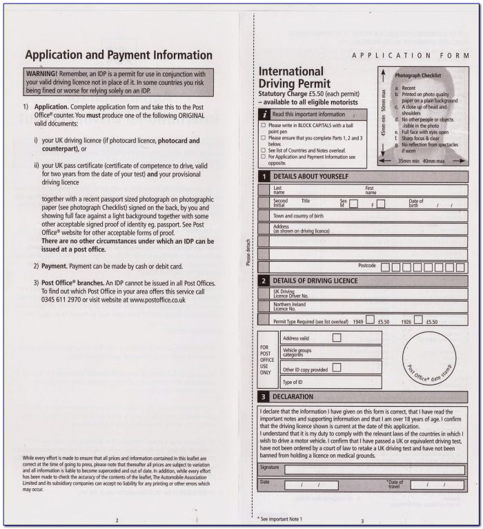 International Driving License Application Form Uk