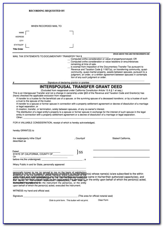 Interspousal Transfer Grant Deed Form