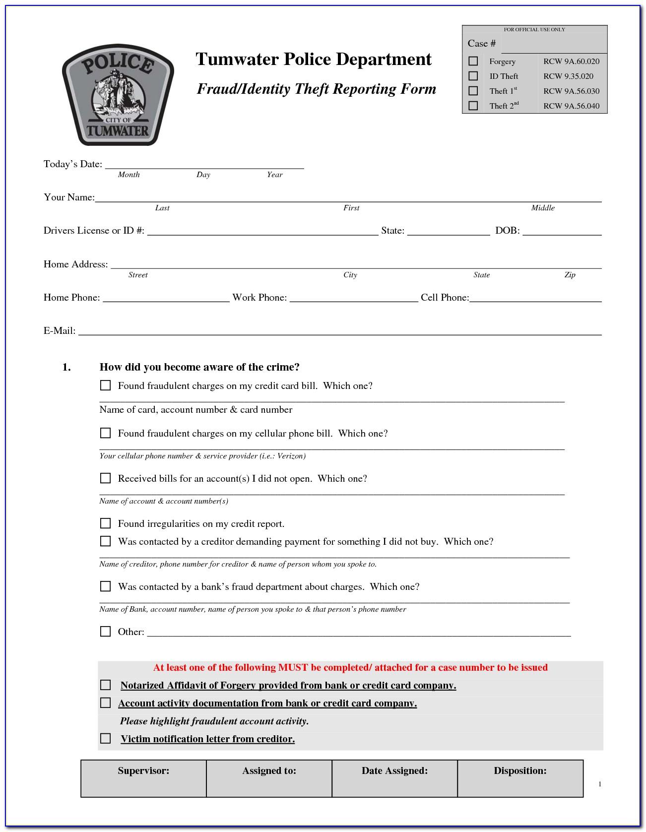 Irs Identity Theft Report Form