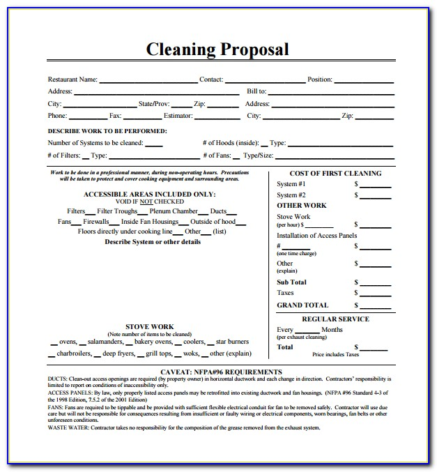 Janitorial Bid Proposal Forms