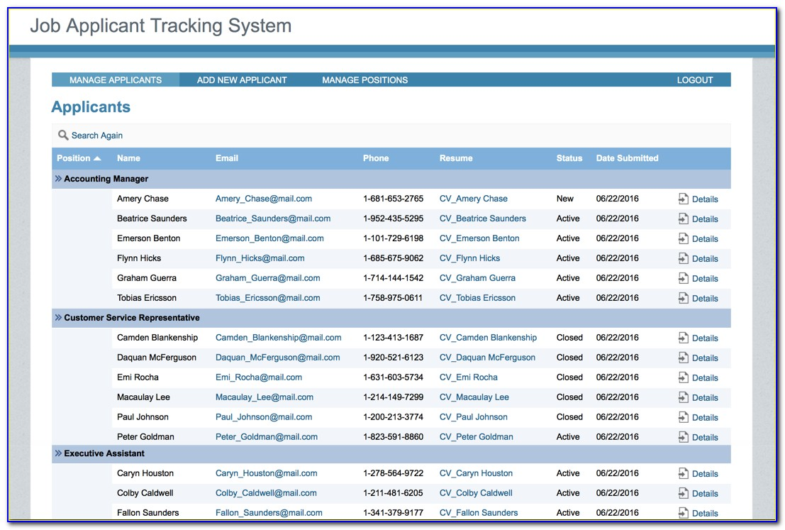 Job Applicant Tracking Systems
