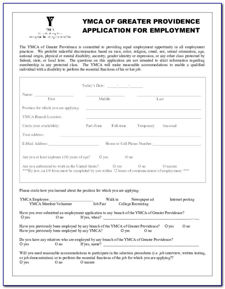Job Application For Ymca