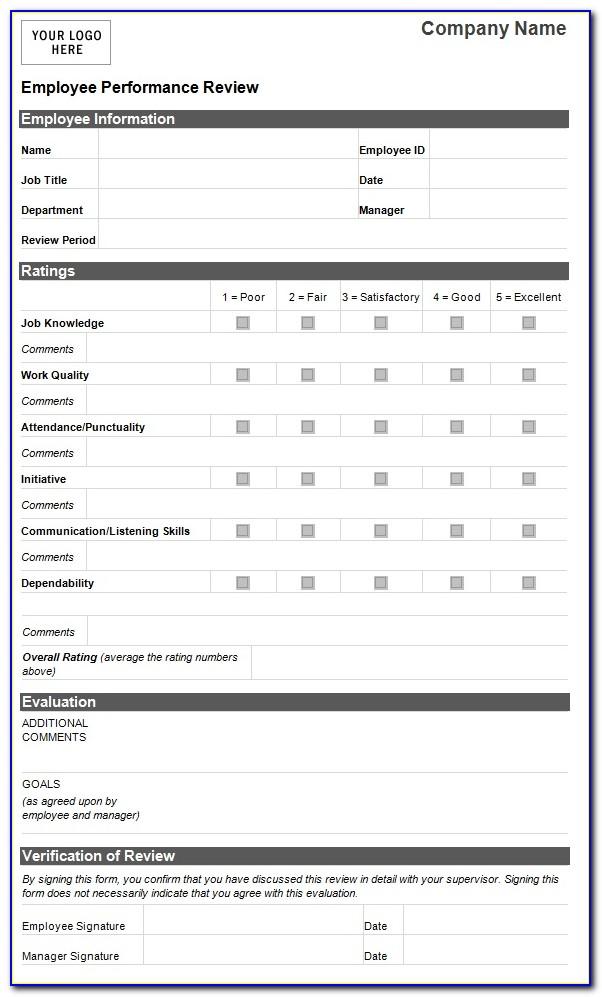 Job Performance Evaluation Form Templates