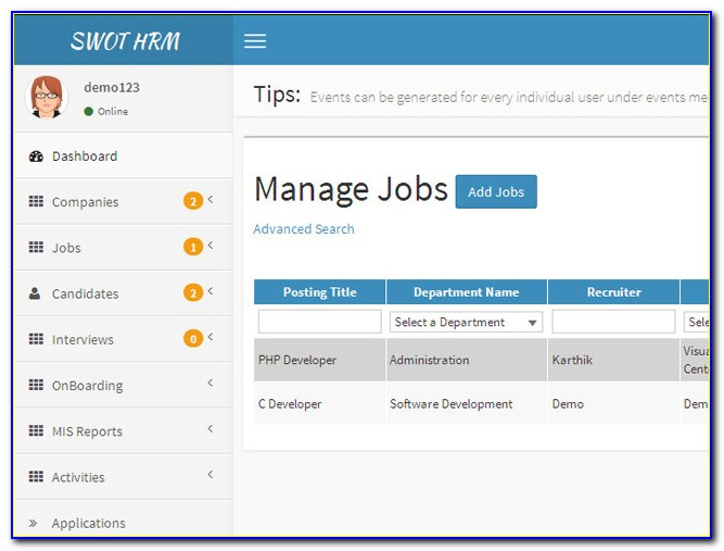 Job Search Applicant Tracking System