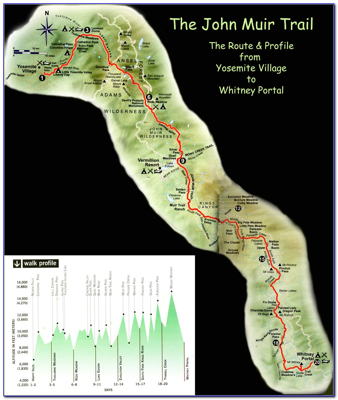 John Muir Trail Map Poster