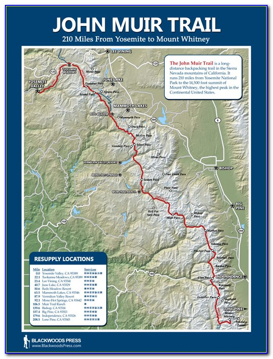 John Muir Trail Map With Campsites