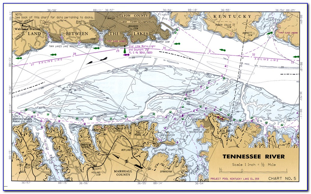 Kentucky Lake Maps Fishing Hot Spots