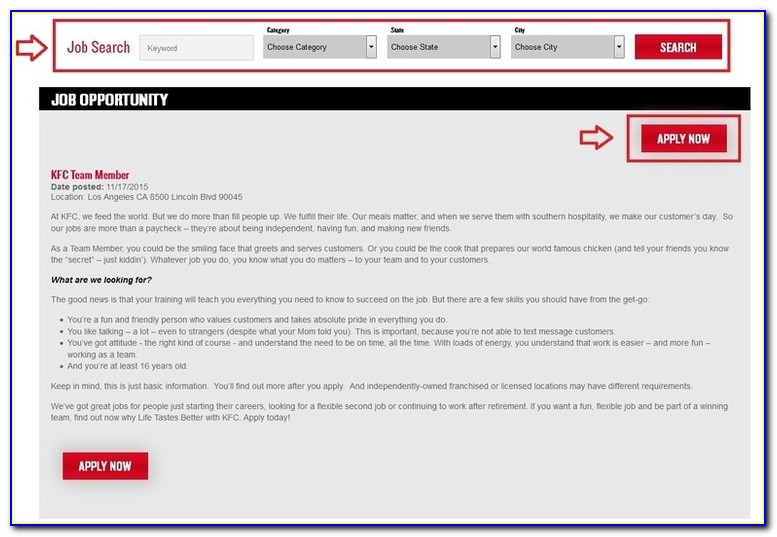 Kfc Job Application Apply Online