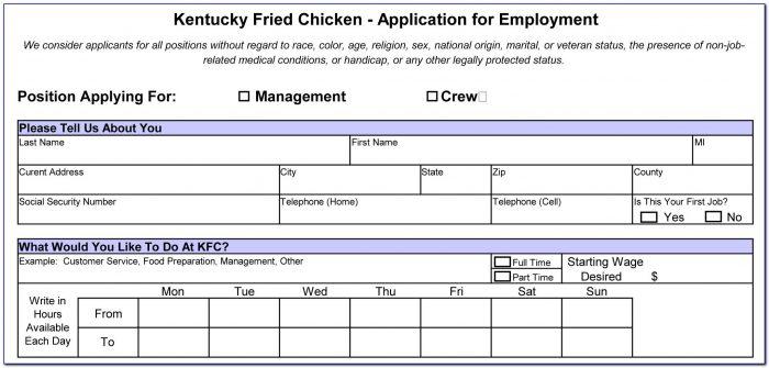 Kfc Job Application Form Online Uk