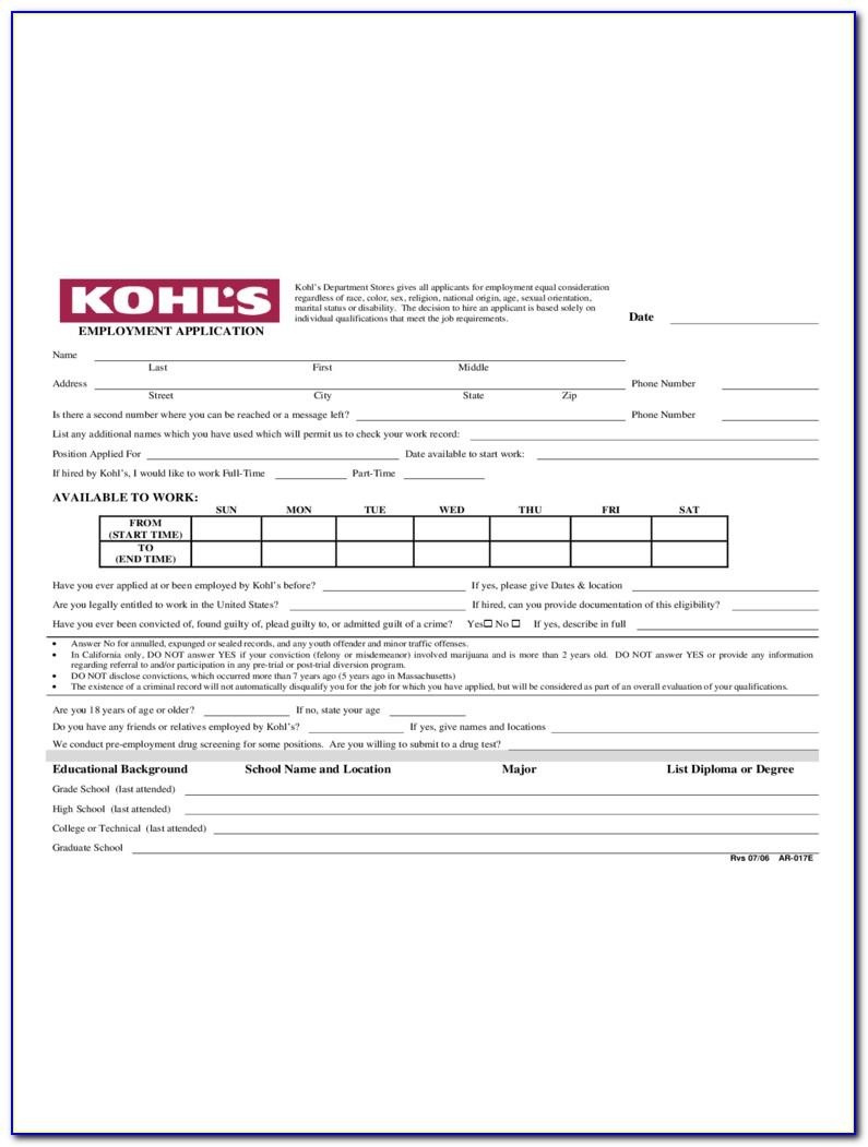 Kohls Application Form Online