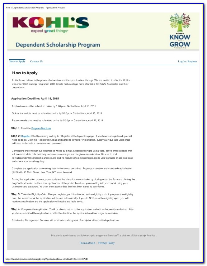 Kohls Job Application Form Print Out