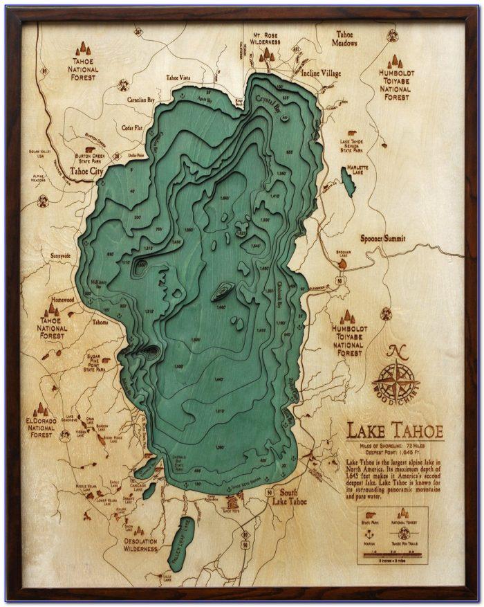 Lake Tahoe Underwater Topographic Map