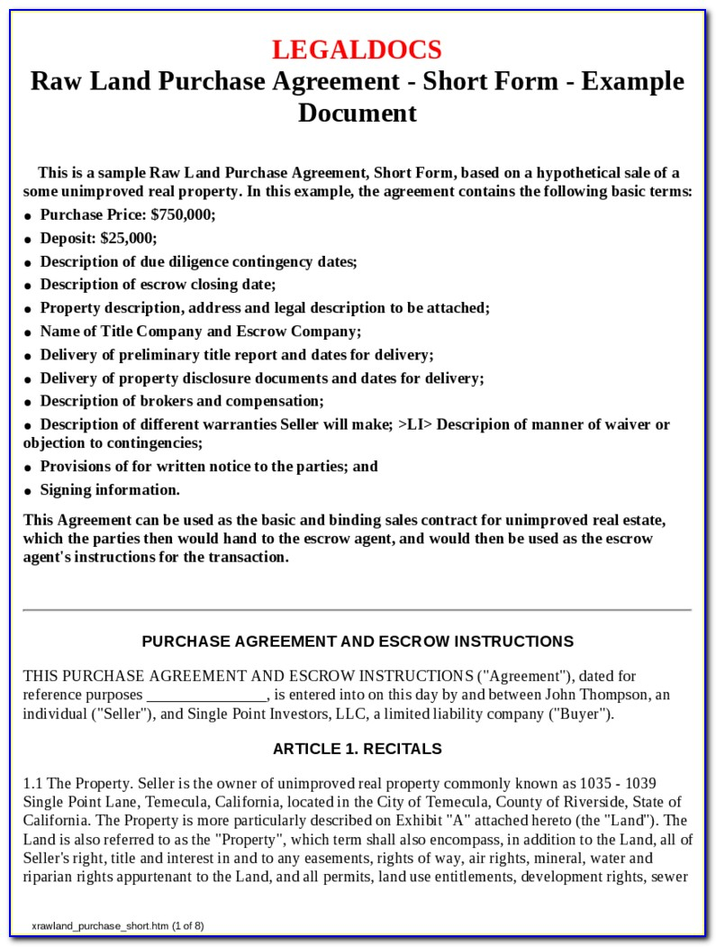 Land Contract Purchase Agreement Form