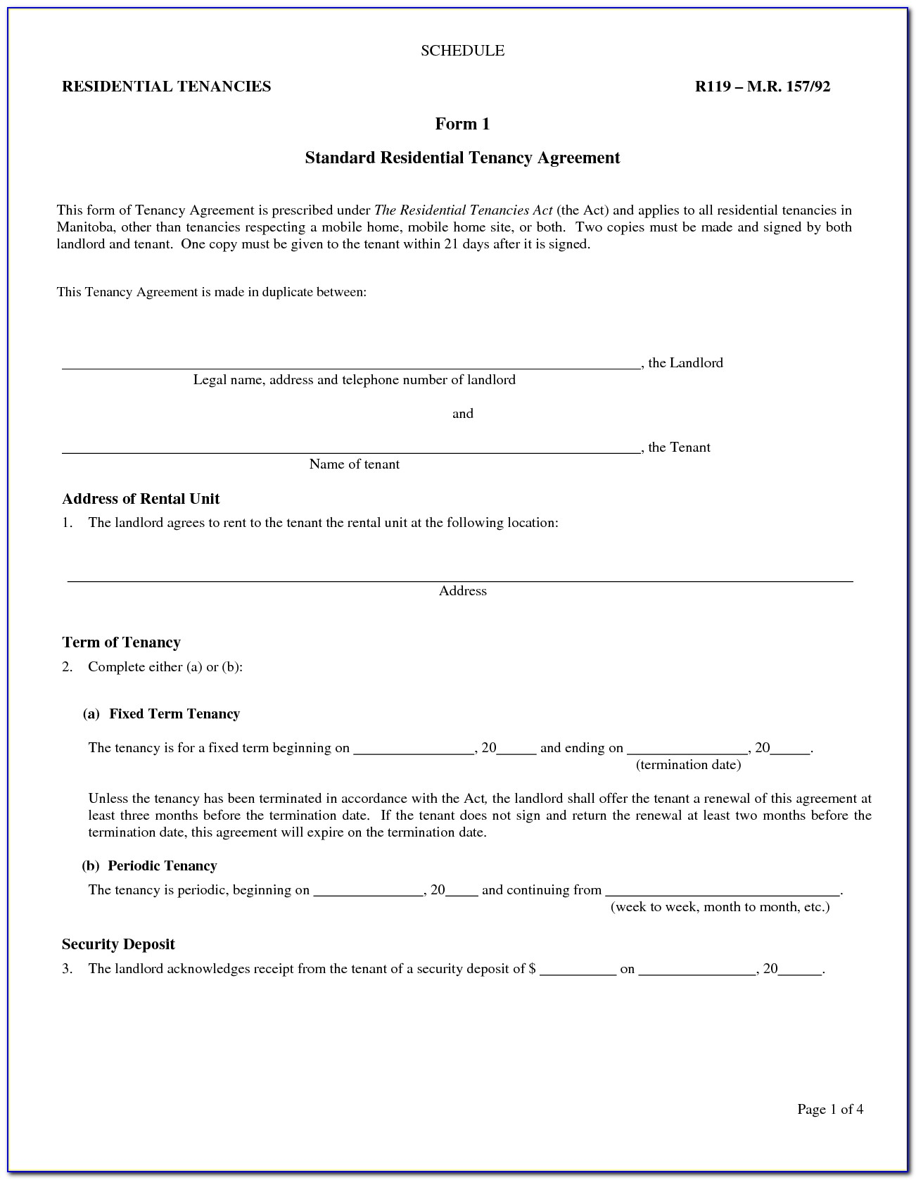 Landlord Lease Agreement Form Alberta