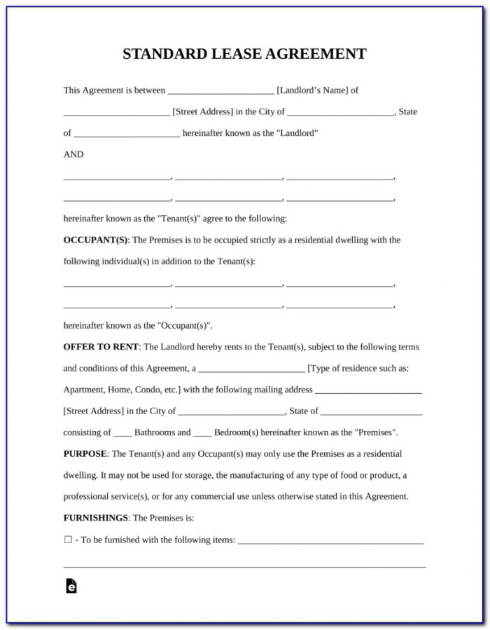 Landlord Rental Lease Agreement Forms