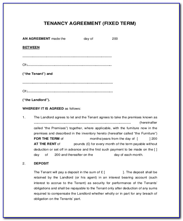 Landlord Tenancy Agreement Form Uk