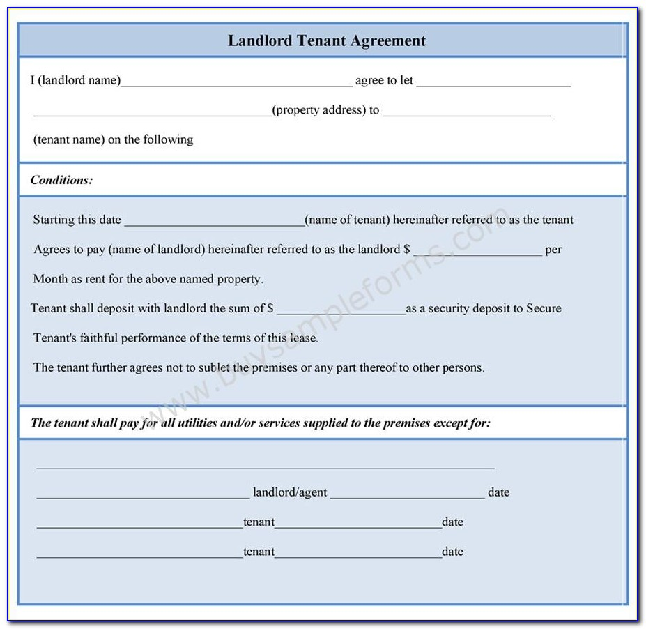 Landlord Tenant Lease Agreement Form Ontario