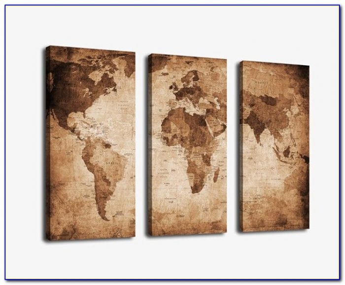 Large Antique World Map Canvas