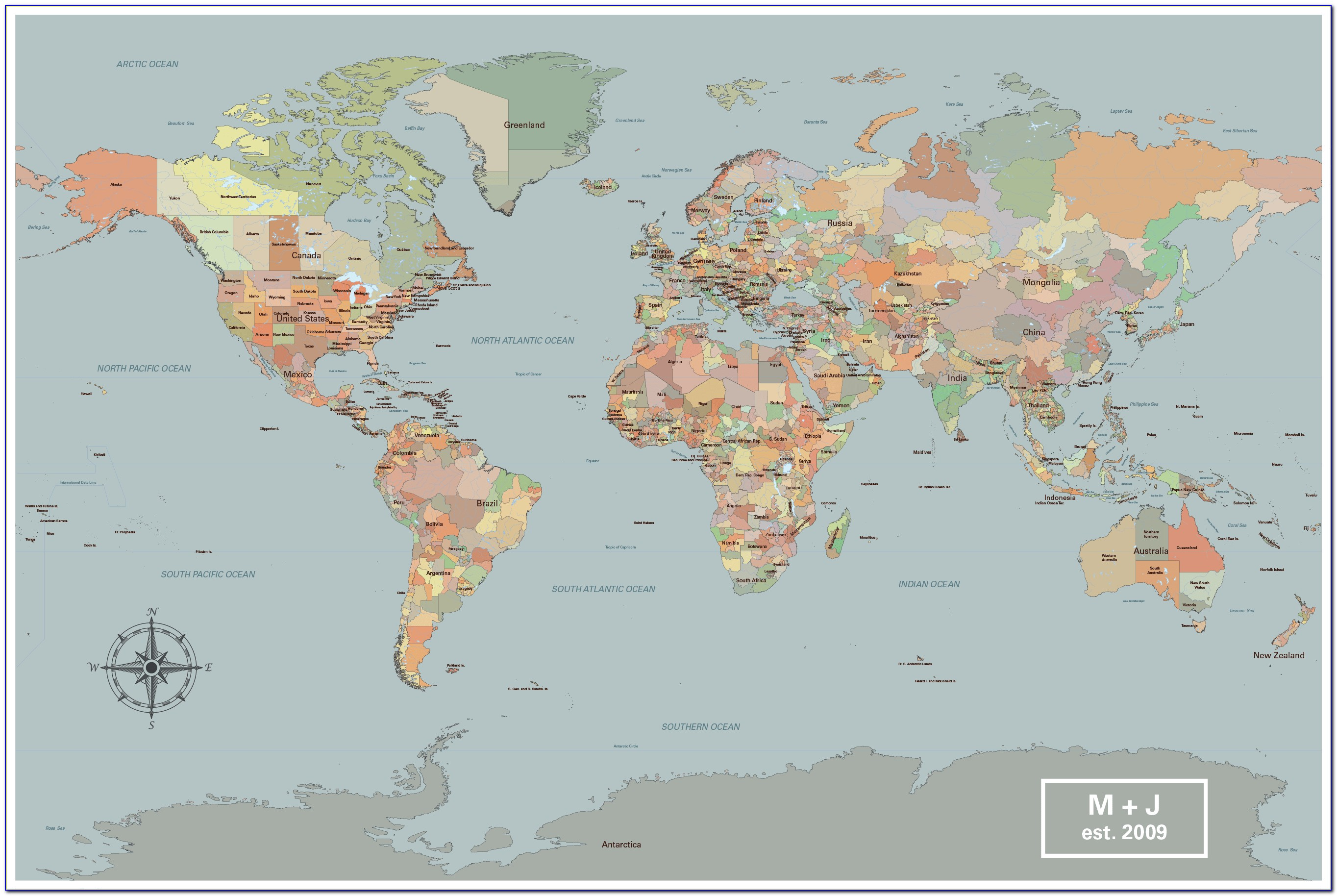 Large Framed Push Pin World Map