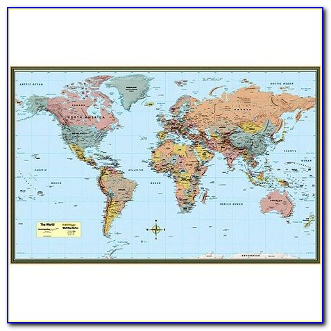 Large Laminated World Map Poster
