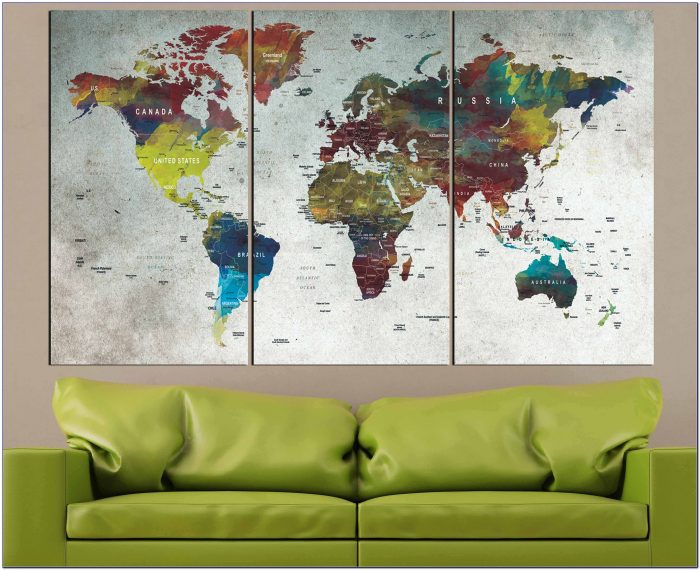 Large Old World Map Canvas