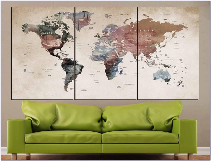 World Map Wall Art,world Map Canvas,world Map Print,large World Regarding 2017 World Map Wall Art Canvas