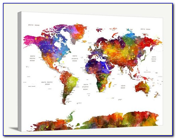 Large Wall Art World Map Push Pin