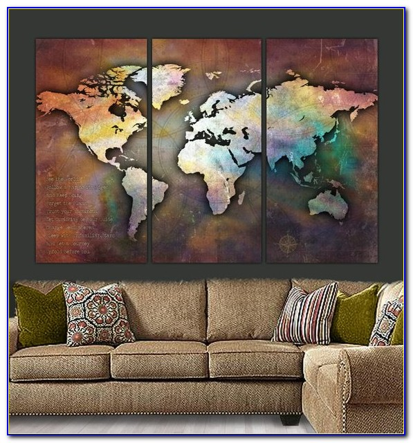 Large World Map Canvas Australia