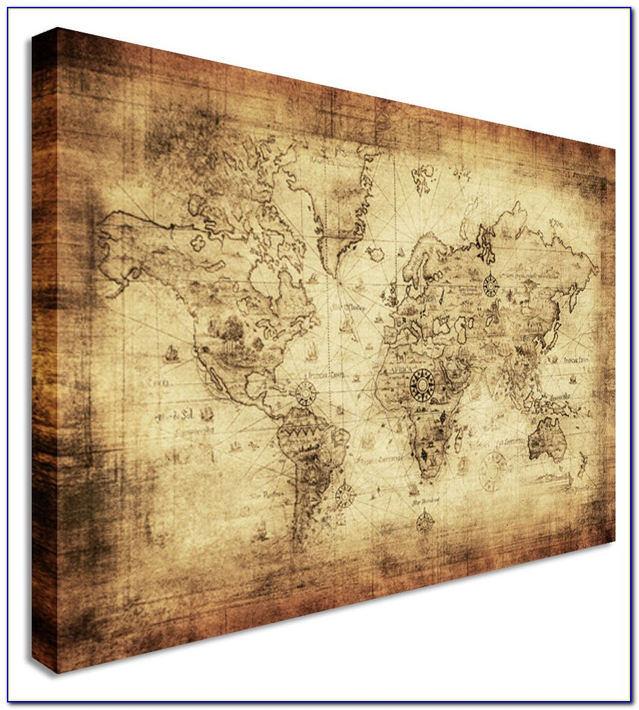 Large World Map Canvas For Wall