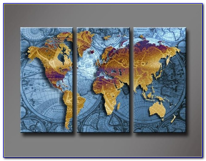 Golden World Map With Blue Sea, Large Hd Canvas Print Painting With World Map Wall Art Canvas