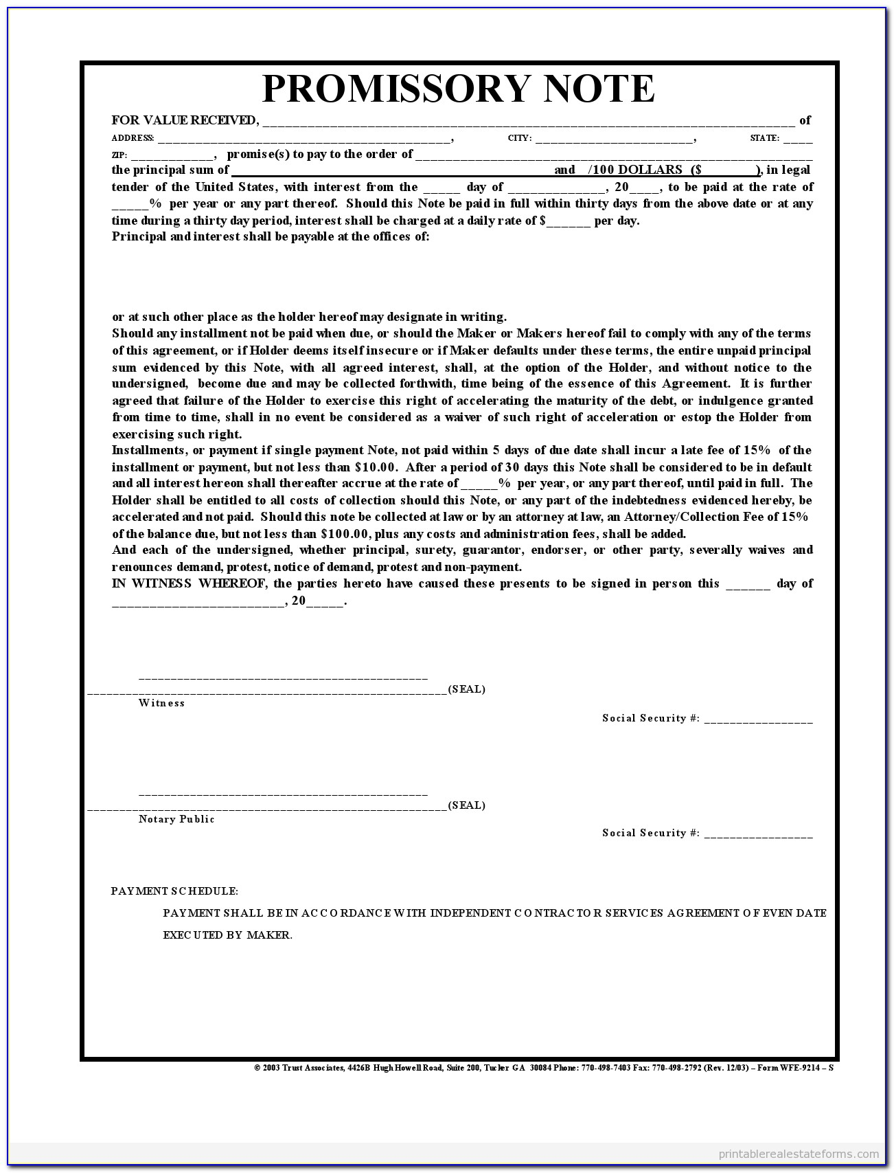 Legal Forms Free Download Promissory Note