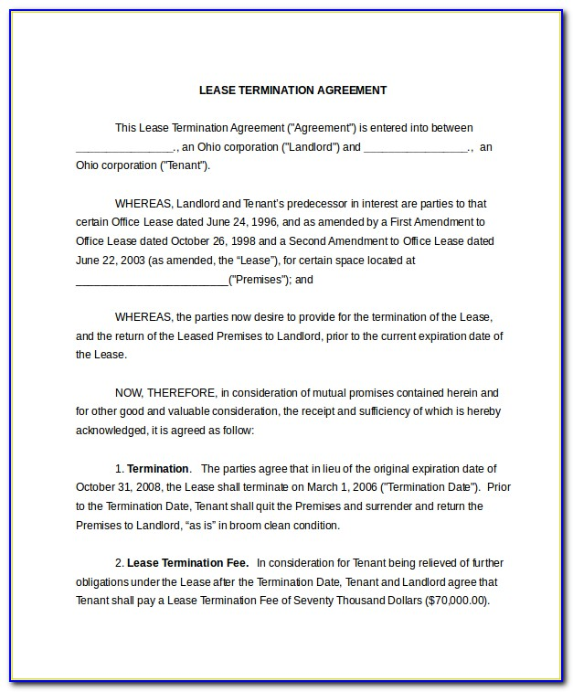 Letter Format For Termination Of Rental Agreement