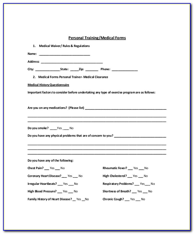 Liability Waiver Form For Personal Training