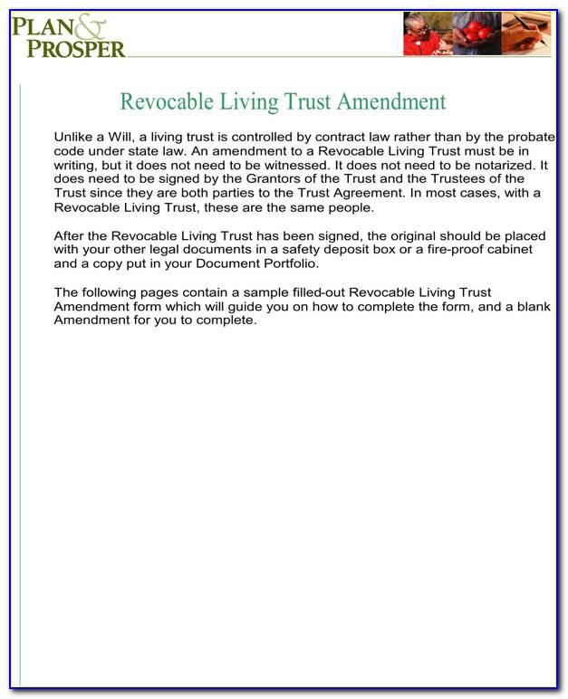 Living Trust Amendment Form California
