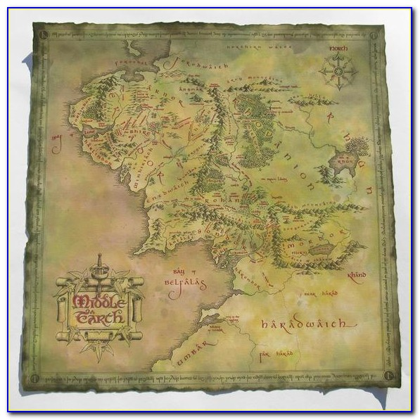 Lord Of The Rings Middle Earth Map Canvas