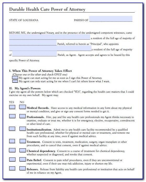 Louisiana Durable Power Of Attorney For Health Care Form