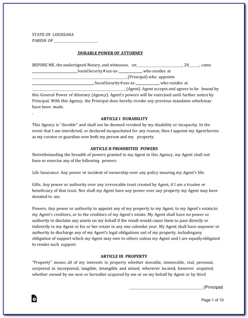 Louisiana Real Estate Power Of Attorney Form