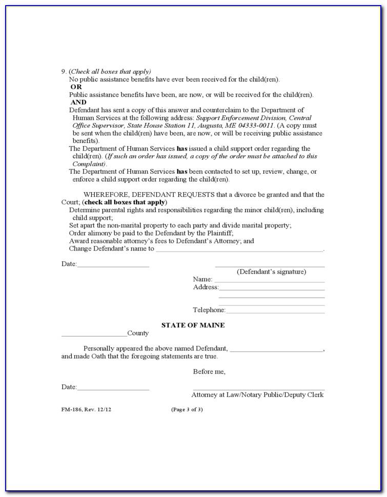Maine Divorce Forms